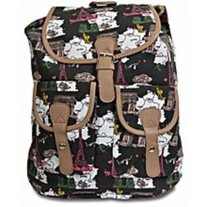 Bags Collection Black & White Canvas Backpack For Women