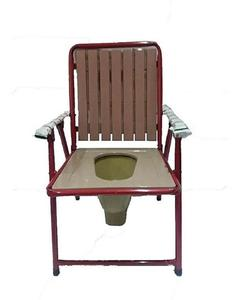 Steel Furniture Commode Chair Foldable With Plastic Seat & Back