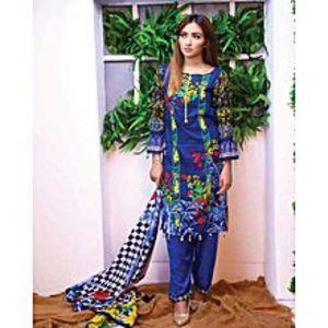 Al Zohaib TextileBlue Lawn Unstitched Suit For Women - 3 Piece