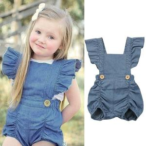 e0747e4d5553 0-24M Newborn Toddler Baby Girls Denim Bodysuit Romper Jumpsuit Clothes  Outfit