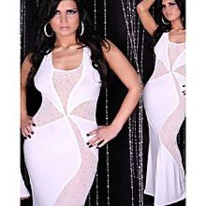 Lovers DressWhite Polyester & Spandex Maxi Dress For Women