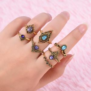 7pcs/set New Fashionable Hollow Out Rings Female Women Lady rls Finger Rings Kit (Gold)
