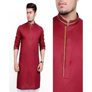 Maroon Cotton Stitched Kurta For Men