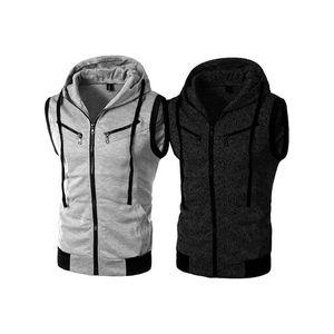 Pack of 2 - Multicolor Zipper Sleeveless Hoodies For Men