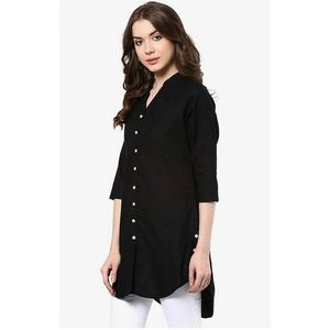 Royal Collection Pakistan Black Boski Linen Top For Women