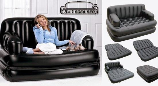 Air Lounge 5 in 1 Sofa Cum Bed - Black
