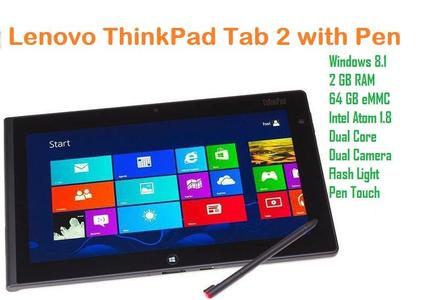 Lenovo ThinkPad Tablet 2 with 1.80 Atom Dual Core Processor, 2 GB RAM, 64 GB eMMC, Dual Camera, WiFi, Bluetooth, Pen and Charger
