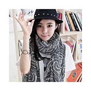 Chinese Dukaan Black White Trendy Women Long Bohemian Printed Wrap Scarf for Girls