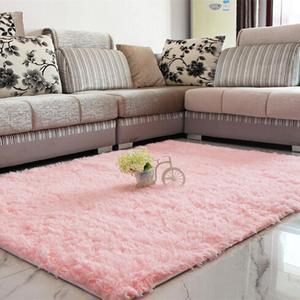 Fashion Mat Bedroom Floor Mat Fluffy Blanket Nonslip Lounge Cushion Home Rug Pink