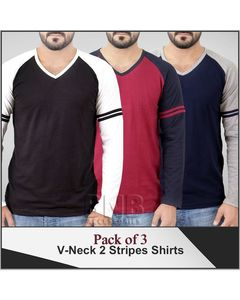 Shopping At Craze Pack of 3 Stylish 2 Color Tone Shirts