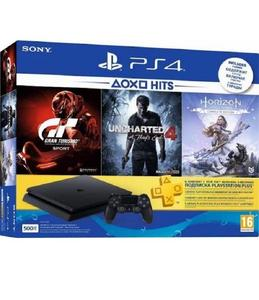 PS4 HIT Bundle 500GB  + Horizon Zero Dawn Complete + Uncharted 4 +  Gran Turismo + 3 Month PS Plus membership