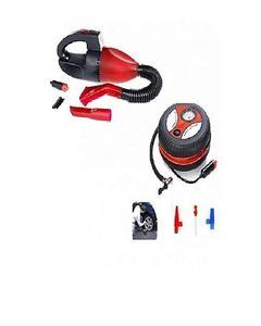 Pack of 2 - Car Vacuum Cleaner & Car Air Compressor Pump - Red & Black