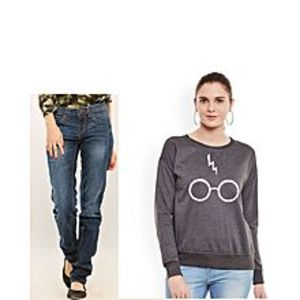 Outfit MafiaPack of 2 - Charcoal Fleece Sweatshirt & Blue Denim Jeans for Her