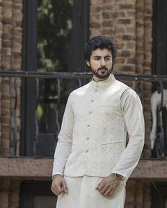 Bonanza Satrangi - Beige Jacquard Men Waist Coat - 50775-XL