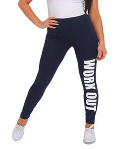 Navy Blue Workout Printed Gym Tight