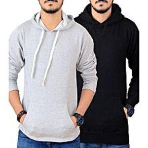Just ClothingPack of 2 - Grey & Black Fleece Kangaroo Hoodies For Men