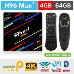 Original H96 Max Plus RK3328 4GB 64GB with G10 Voice Remote Android 9.0 Tv Box 4K Smart Tv Box RK3328 Quad Core Usb3.0 Bt4.0 2.4G&5G Dual Wifi H.265 Hd Smart Internet Box - H96 Max+ Smart 4K Tv Box