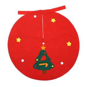 Red Non-Woven Christmas Tree Skirt Aprons Wave Straight Edge Xmas Decor Ornament
