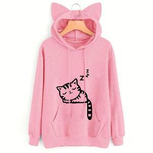 Cute Cartoon Cat Print Sweatshirts Women Cotton Autumn Hoodie