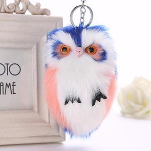 PomPom Ladies Bag Fluffy Cute Faux Owl Keyring