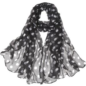 FashionieStore Woman's scarf Fashion Women Dot Printing Long Soft Wrap Scarf  Simulation Silk Shawl Scarves