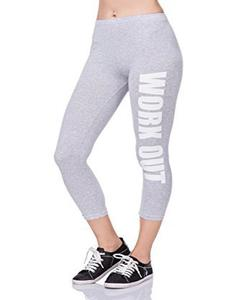 Heather Grey Workout Printed Gym Tight