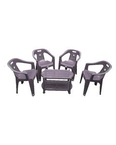 (Boss) Set Of 4 Plastic Chairs And Plastic Table - Grey
