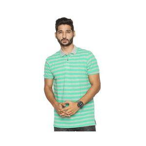 Grey & Green Cotton Pique Polo Shirt for Men