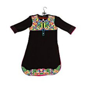 Amaze Collection Black Malai Linen Embroidered Kurta For Girls