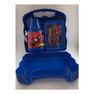 The Amazing Spider Man Designable Cartoon Colorful School Lunch Box Plus Water Bottle-Blue