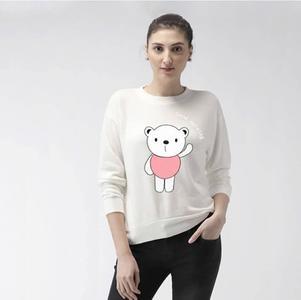 White Good Morning Panda Printed Sweat Shirt For Her