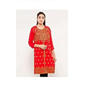 CLICKANDBUYRed Cotton Embroidered Kurti For Women