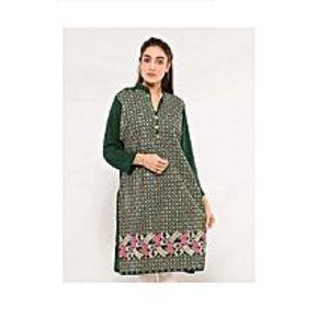 CLICKANDBUYGreen Linen Embroidered Kurti For Women