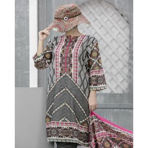 Stone Grey Floral Printed Lawn Suit For Women - 3 Pcs