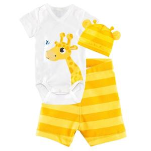 3-Pieces Set Baby Infant Short Sleeve Romper Cotton Clothes Jumpsuit With Hat And Shorts 80 - Yellow Giraffe