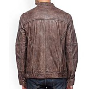 Enson Brown-Teakwood Leathers Jacket-For Men
