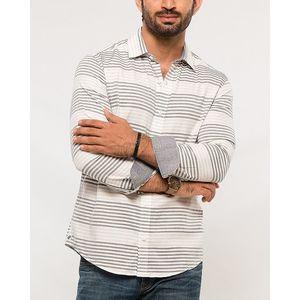 Denizen White & Grey Cotton Stripped Shirt for Men