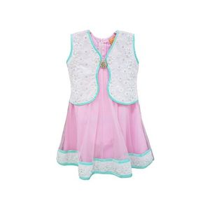 Pink Embroidered Stitched Jacket With Net Dress