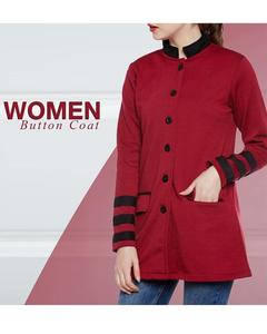 Maroon Women Button Coat