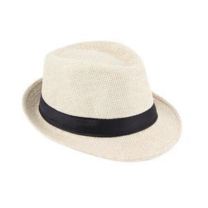 Unisex Fedora Trilby Hat Cap Straw Panama Style Packable Travel Sun Hat Beige