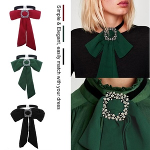 Women Fashion Bow Tie Choker Bow-Knot Collar Chiffon Necklace Clothes Accessory (Green)