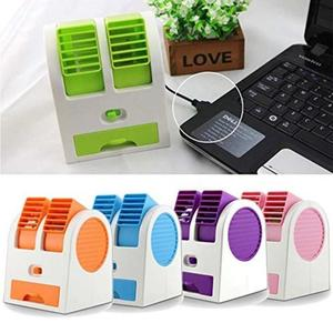 Royal Traders Mini Air Conditioner Perfumed Fan, USB and 3 AA Battery Operated - Orange