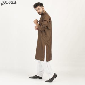 Cut Price Dark Shades Kurta Stitched Karhai for Men Brown