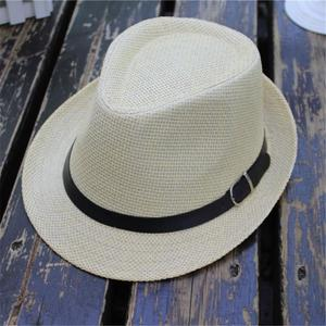 Rainbowroom 2019 Children's Trilby Gangster Cap Lattice Pattern Beach Sun Straw Hat Band Sunhat