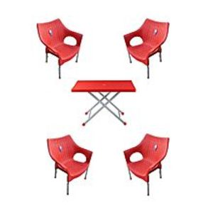 CHIEF(Boss) Set Of 4 Rattan Plastic Chairs And Plastic Table - Red