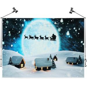 7X5FT Christmas Moon Decor Wall Art Photo Backdrop Background Photography Props