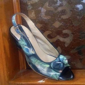 Black Floral Printed High Heel Sandal for Women
