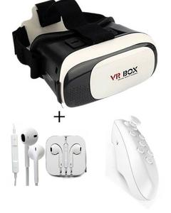 VR Box 3D With Bluetooth Joystick Remote and Stereo Smartphone Handsfree - White