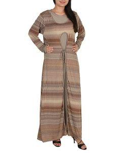Fashion Café Coffee Brown Spandex Jersey Star Fish Printed Long Dress