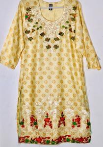 Lemon Yellow Stylish Embroidered Shirt/Kurta For Women - Stitched